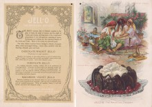 Three women sit on a carpet around a low table sharing Turkish coffee and pastries, The women form a circle, which is visually mirrored by the Chocolate Walnut Jell-O dessert below them