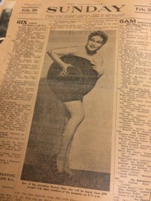 newspaper sheet with columns of text and photo of Holly Fine