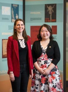 Photo of exhibit curators Emily Wilcox and Liangyu Fu