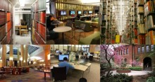 A picture of six different spaces in different University of Michigan library locations showing students studying, in the Bert's study lounge, in the stacks as well as a picture of the 2nd floor of the Duderstadt Center and an exterior shot of Tappan hall.