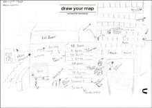 Student drawn map of the Hatcher Graduate Library.