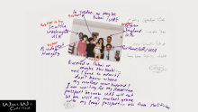A picture of a family with purple text explaining where each member is or what happened to them.