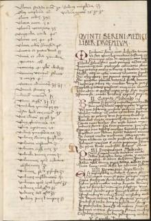Quintus Serenus (fl. 2nd c. AD). Liber medicinalis. Southeast Germany (Bavaria) or Austria; ca. 1500. Mich. Ms. 291.