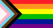 Progress Pride Flag - Rainbow with chevron of the trans pride colors and a black and brown stripe on the left