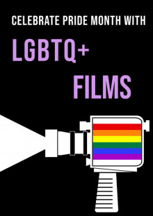 Black background with white and purple text. White outline illustration of movie camera with pride flag inside.