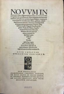 Title page of Novum Instrumentum omne, diligenter ab Erasmo Roterodamo recognitum & emendatum. Basel: Johann Froben, 1516