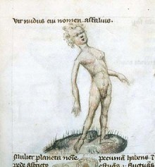 Medieval sketch of an awkward young man.  He is nude, facing forward but leaning backward.  His right arm hangs behind him. It is impossibly long