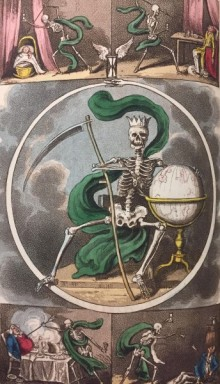 illustration of several skeletons attacking humans with arrows, with a central image of a skeleton wielding a scythe