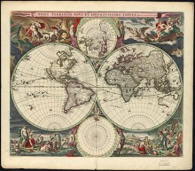 Digitized map of the world by Nicolaes Visscher, 1658