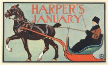 Harper's January 1899 cover image by Edward Penfield