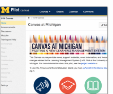 screenshot of UM Canvas Pilot webpage