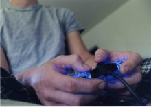 Stock photo of someone playing video games
