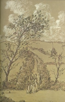 Illustration in shades of green and sepia showing a party of men and women in Regency dress walking along a path between hedgerows through a hilly countryside