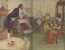 Illustrated endpapers showing an older, grey-haired man bowing, as though making an announcement, to two seated women: Mrs. Bennet and a brown-haired young woman trimming a hat (possibly intended to be Elizabeth?)