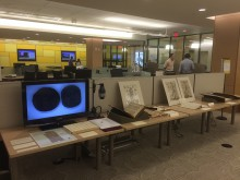 Photo taken a few minutes before the arrival of the guests, showing a selection from the History of Medicine Collection on the fourth floor of the recently renovated Taubman Library, University of Michigan Library