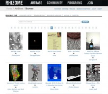 screenshot of Rhizome Artbase search page