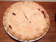 Picture of a double-crusted mock cherry pie