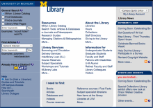 U-M Library website from seven years ago