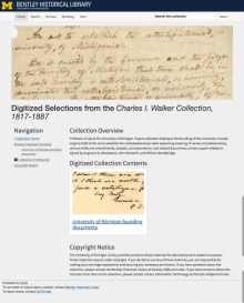 The newly improved collection main page for Digitized Selections from the Charles I. Walker Collection, 1817-1887