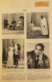 Newsclipping showing four photographs of Robeson (Othello) and Ashcroft (Desdemona) on stage.