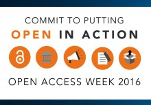 "White, blue and orange designed image with icons and text that reads ""Commit to putting open in action. Open Access Week 2016."
