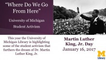 "Image of Martin Luther King Jr, waving to a large audience. Text that says ""Where do we go from here"""