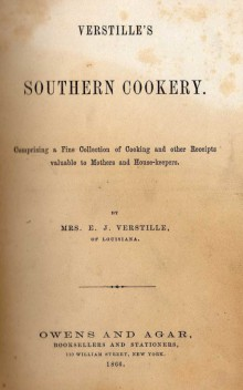 Verstille's Southern Cookery book cover