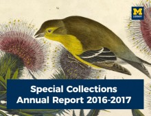 cover image of annual report with bird eating from thistle, title and M Library logo
