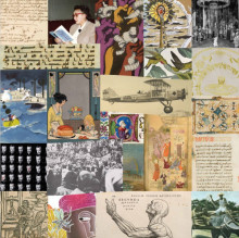 complex collage of images taken from books, posters, and photographs featuring figures, writing in various scripts, water and air scenes and abstract forms