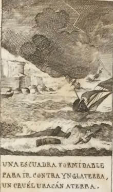 "Illustration depicting the so-called ""Armada Invicible"" as it was destroyed by a storm when attempting to invade England."