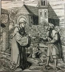 Woodcut depicting Saint Fridolin from Saints et Saintes issus de la famille de l'empereur Maximilien I (Vienna: F. X. Stöckl, 1799)