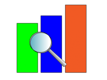 Image of bar chart and magnifying glass
