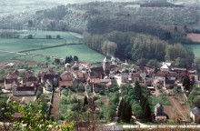 Aerial view of village near Vezelay