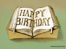 "Drawing of book with mounts and snake. Open pages read ""HAPPY BIRTHDAY."""
