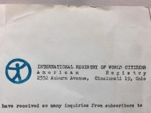 document with International Registery of World Citizens letterhead