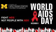 """Image with black background with the white and red text that reads """"fight AIDS not people with AIDS"""" and bold white text that reads """"World AIDS Day"""" with a red AIDS ribbon."""