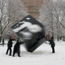 people spinning the michigan cube in the snow