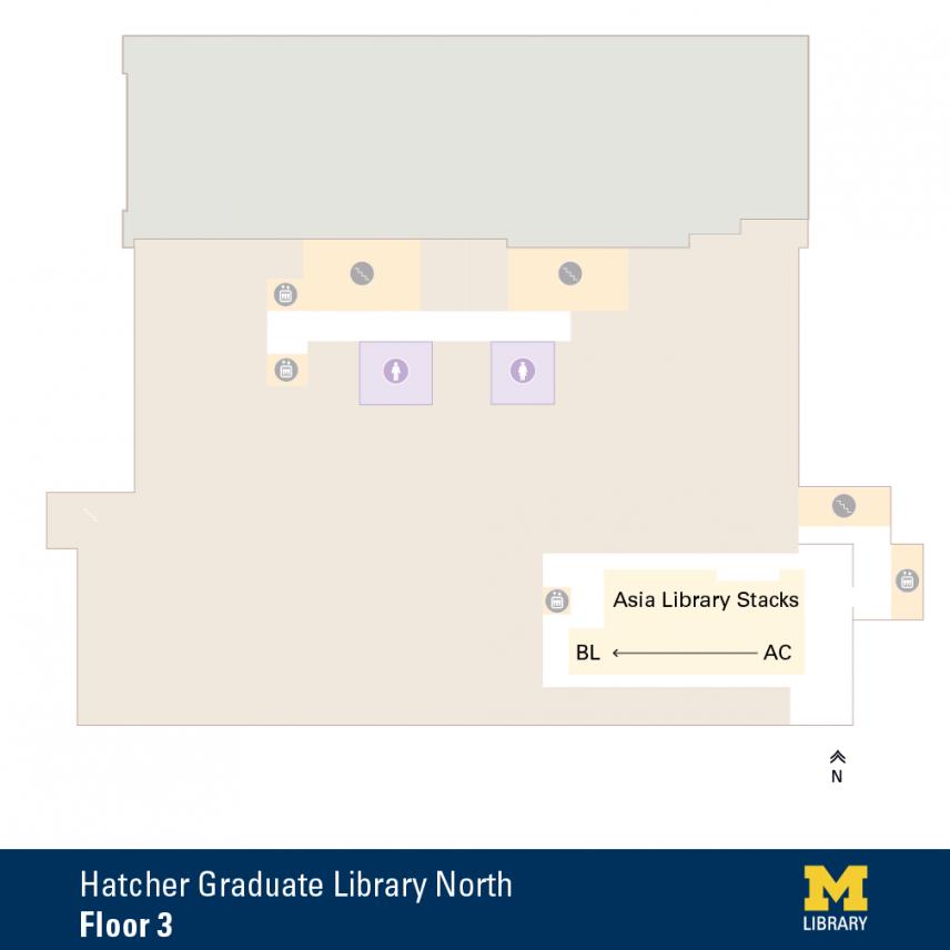 Floor Plan of Graduate Library North Third Floor