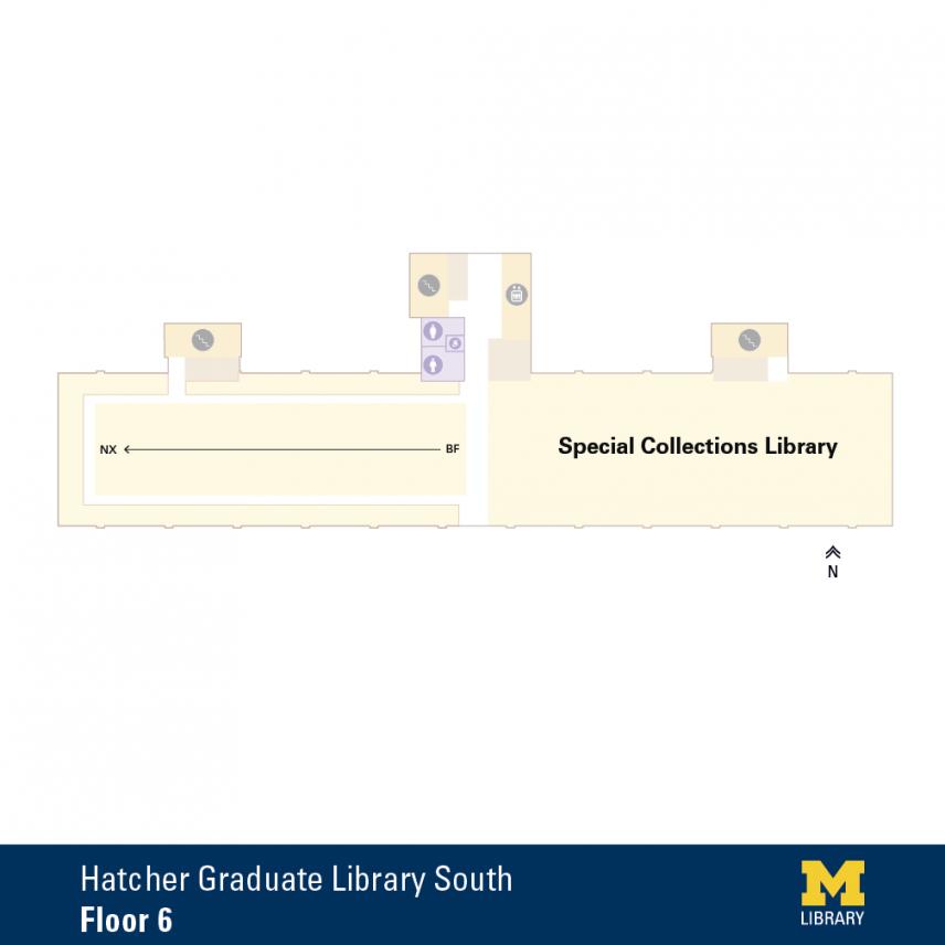 Floor Plan of Graduate Library South Sixth Floor