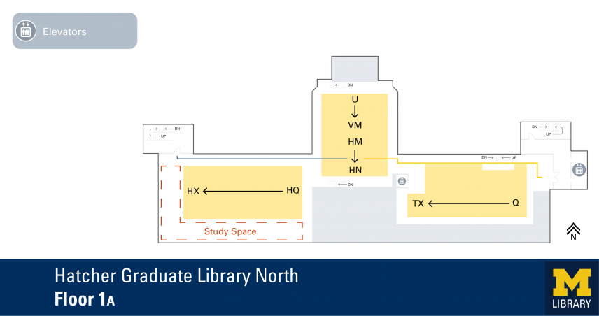 Floor Plan of Hatcher Graduate Library North 1A