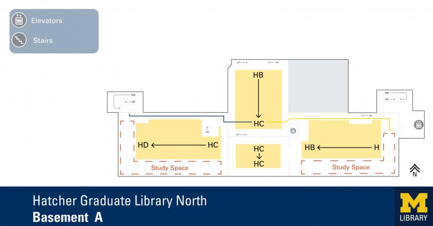 Floor Plan of Hatcher Graduate Library North Basement A