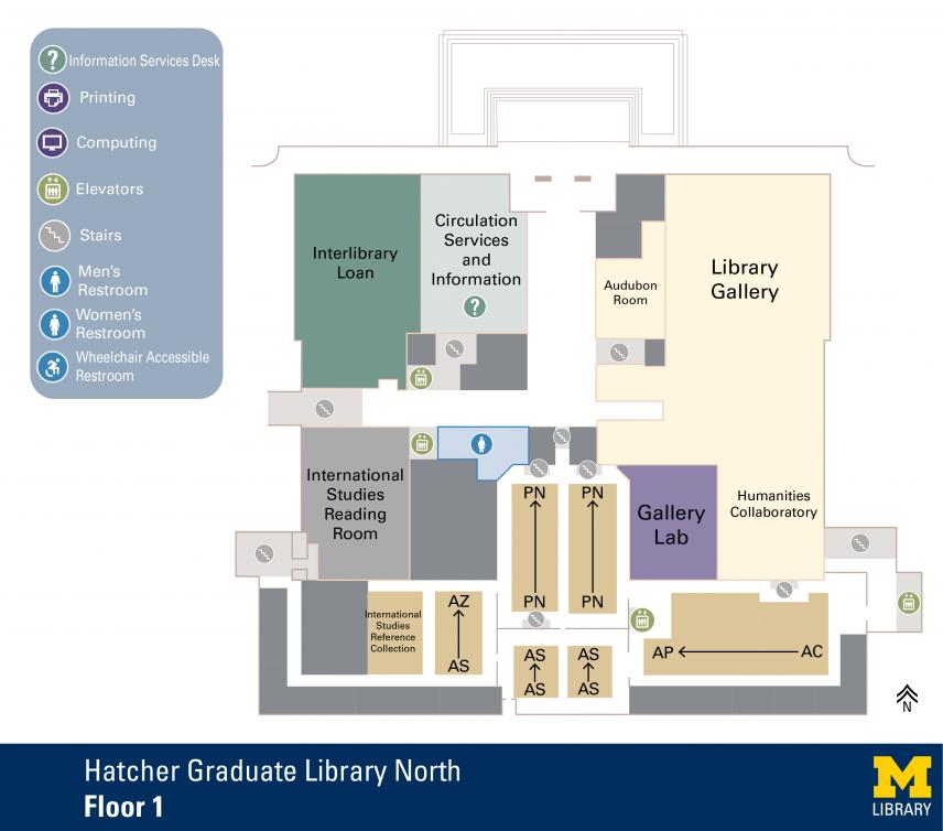 Floor Plan of Hatcher Graduate Library North 1