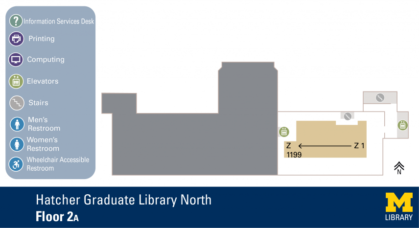 Floor Plan of Graduate Library North Second Floor A