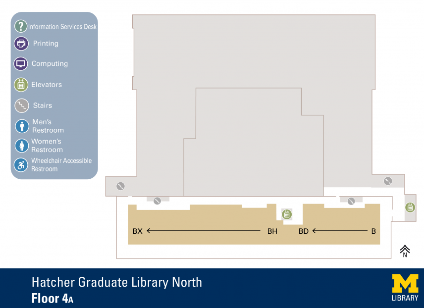 Floor Plan of Graduate Library North Fourth Floor A