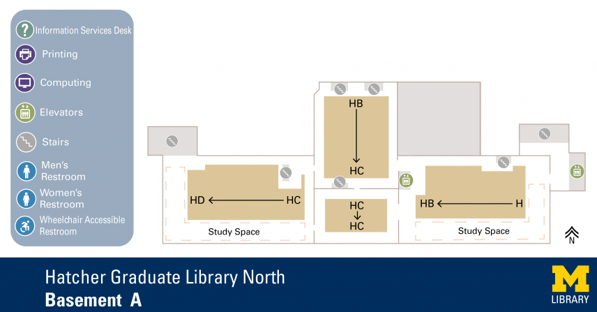 Floor Plan of Hatcher Graduate Library North Basement A