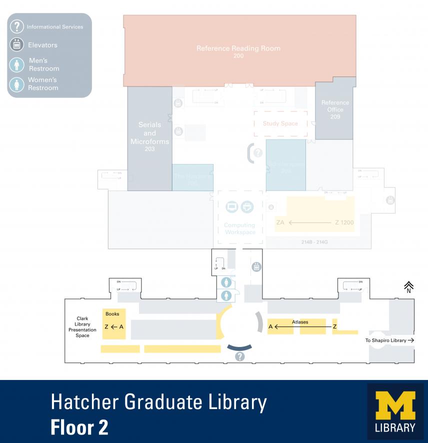 Floor Plan of Hatcher Graduate Library South 2