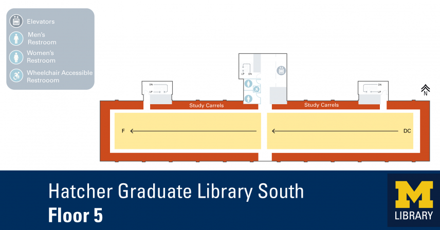 Floor Plan of Graduate Library South Fifth Floor