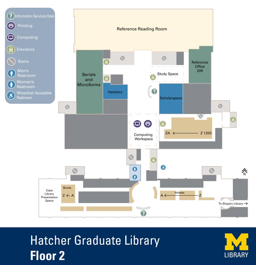 Floor Plan of Graduate Library Second Floor