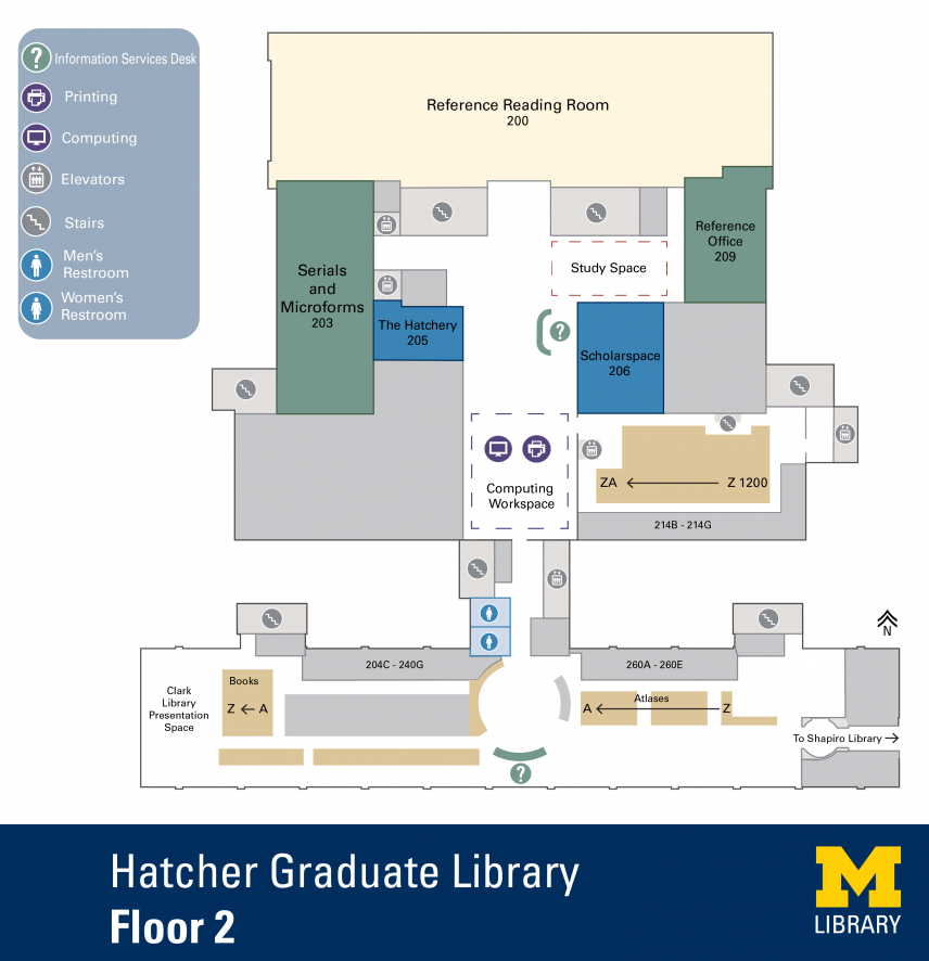 Floor Plan of Hatcher Graduate Library North 2