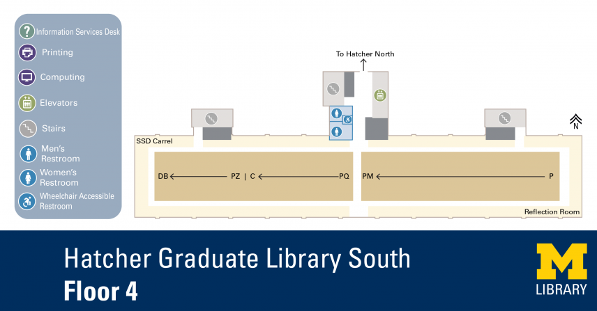 Floor Plan of Graduate Library South Fourth Floor